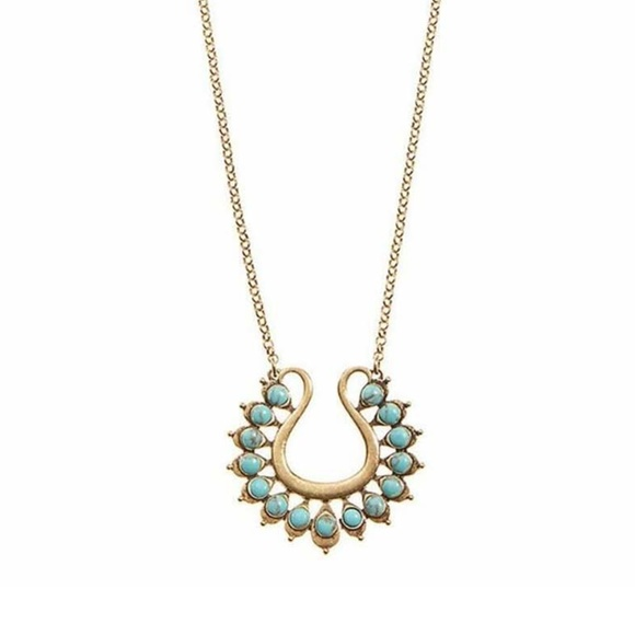 b2789fe3c5964 Lucky Brand Turquoise Stones Gold Pendant Necklace Boutique